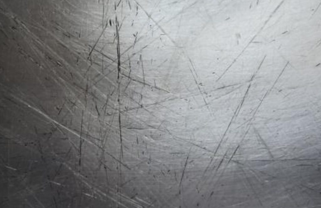 Scratches on the surface of stainless steel